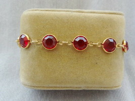 Lovely Signed Swarovski Ruby Red Openback Crystal Bracelet - $12.37