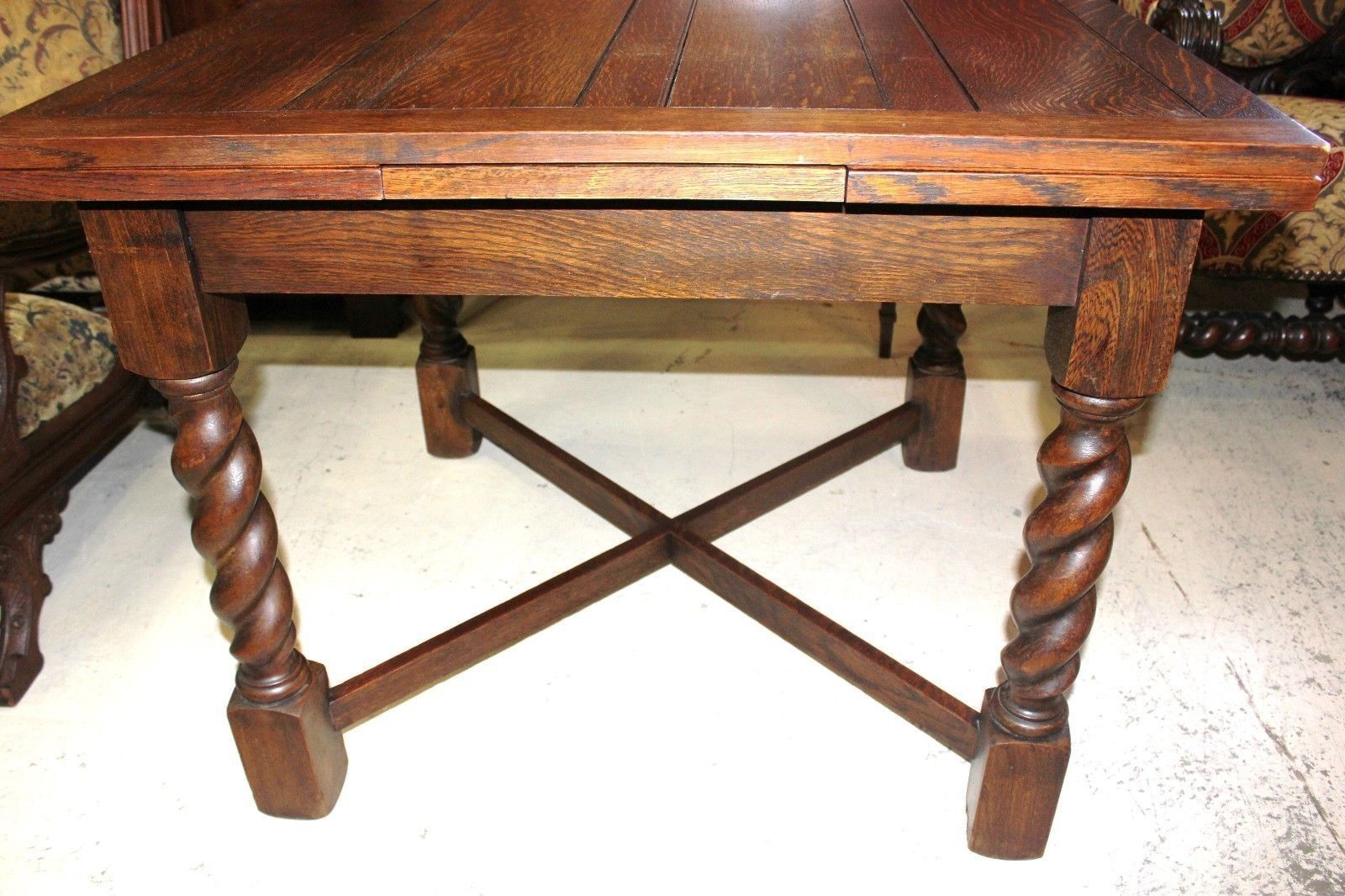 English Antique Oak Draw Drop Leaf Dining Table With