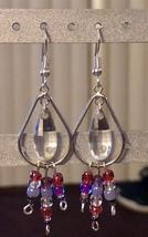 Silver & pink tear drop earrings - $18.00