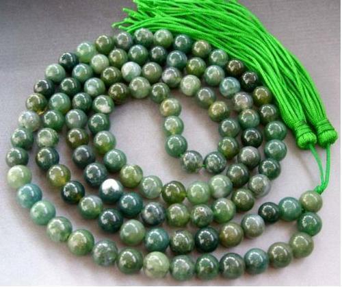 """42"""" Tibetan 108 Natural Moss Agate Prayer Beads Mala"""