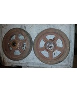 Pair Antique Vintage Cast Iron Industrial Cart Wheels Table Steampunk ru... - $123.75