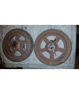 Pair Antique Vintage Cast Iron Industrial Cart Wheels Table Steampunk ru... - $123.75