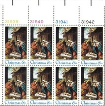 1970 6c Christmas Nativity Plate Block of 8 US Postage Stamps Catalog 1414 MNH