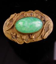 Antique Jadeite Sash in - Vintage art Nouveau brooch - victorian sweethe... - $245.00
