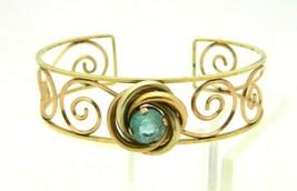 HARPER 1/20 12K Gold Filled LOVE KNOT Blue Rhinestone Cuff Bracelet Vintage - $49.49