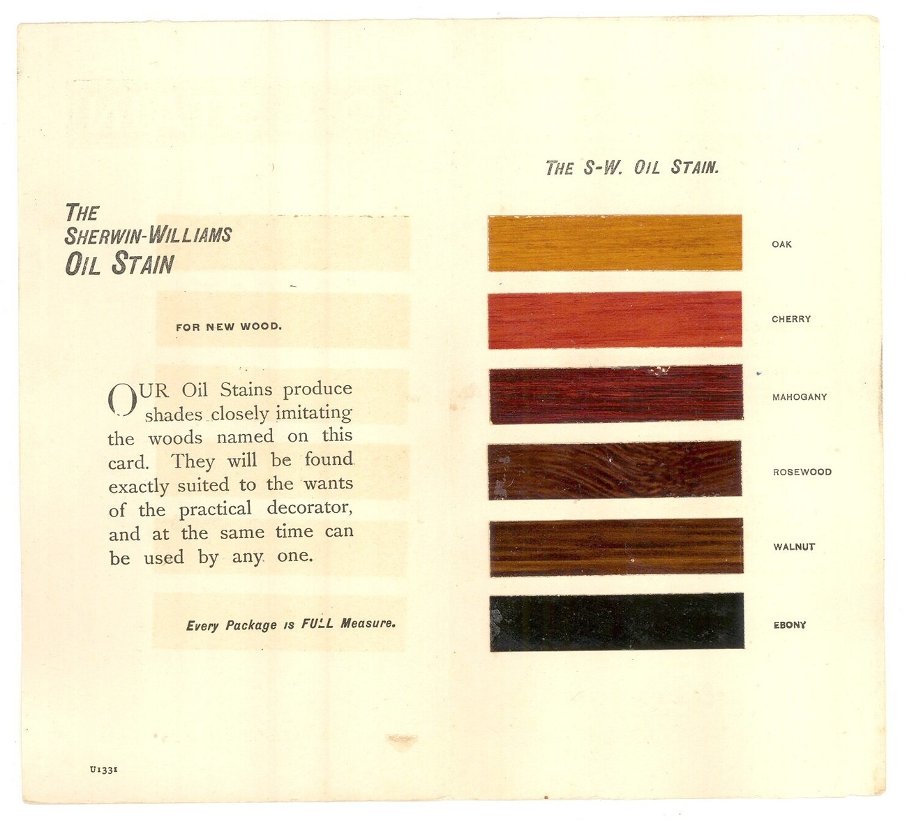 Sherwin Williams 1931 oil stain sample chart advertising Pearson Bros Keene NH image 2
