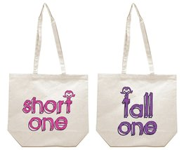 Short One and Tall One Best Friends Girl BFFS Canvas Tote Bag - $31.99