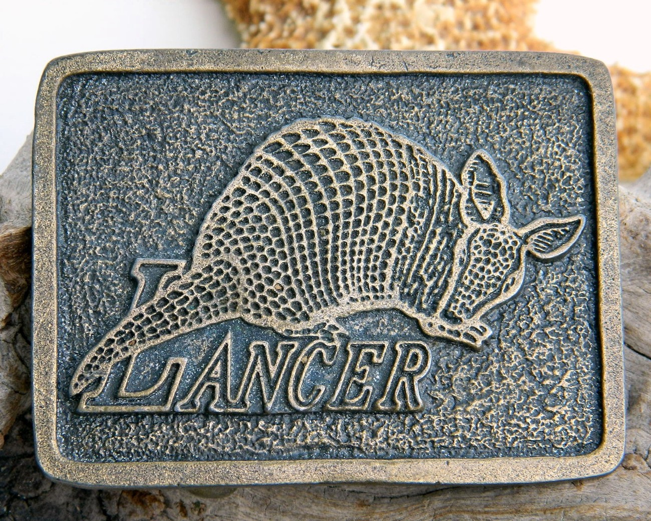 Primary image for Vintage Lancer Texas Armadillo Belt Buckle Brass 1970s
