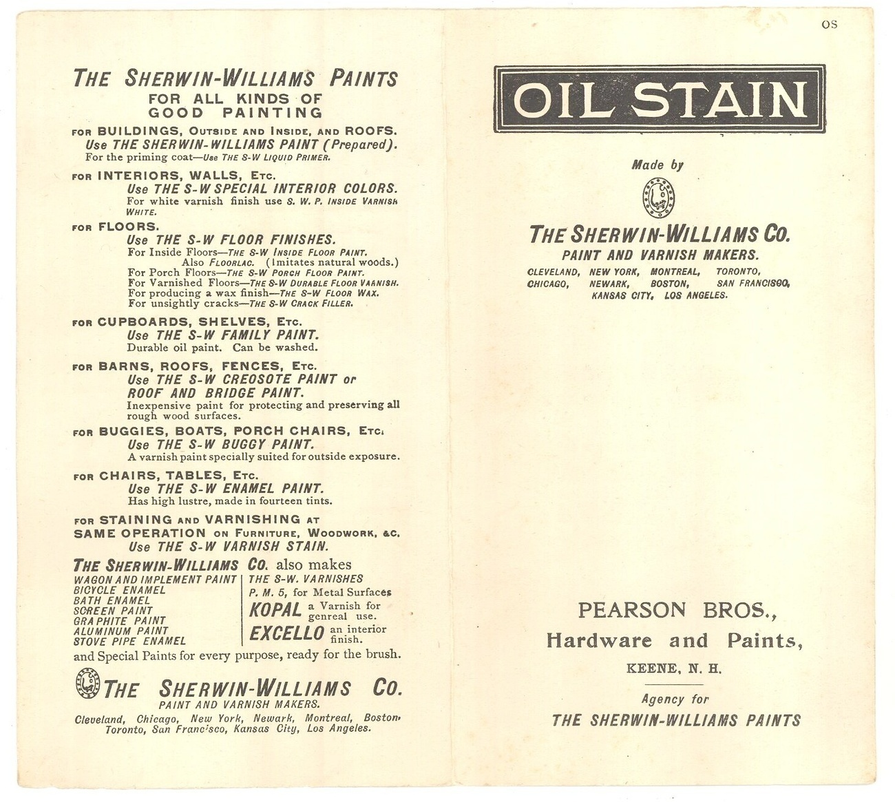 Sherwin Williams 1931 oil stain sample chart advertising Pearson Bros Keene NH