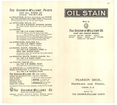 Sherwin Williams 1931 oil stain sample chart advertising Pearson Bros Keene NH image 1