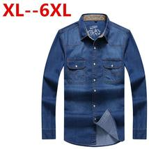 8XL 7XL 6XL 5XL 4XL New Brand Men Shirt Long Sleeve Mens Denim Shirt 100... - $128.76