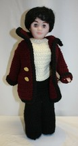 """Vintage 1988 Fibre-Craft Plastic 13"""" Doll With Sleepy Eyes Crochet Outfit - $19.79"""