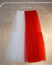 Red White Long Tulle Skirt Outfit Contrast Color Tutu Skirt Plus Size High Waist image 5