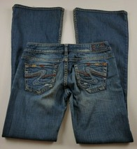 Silver Jeans Womens Sz 29 Tuesday 22 Flare Mid Rise Med Wash Destroyed D... - $52.87