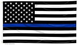 BLACK WHITE UNITED STATES BLUE THIN LINE 3 X 5 FLAG banner FL684 militar... - $6.27