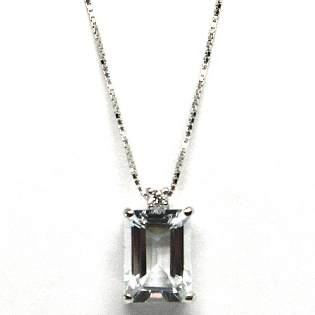 18K WHITE GOLD NECKLACE AQUAMARINE 1.30 EMERALD CUT & DIAMOND, PENDANT & CHAIN