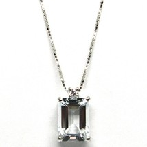 18K WHITE GOLD NECKLACE AQUAMARINE 1.30 EMERALD CUT & DIAMOND, PENDANT & CHAIN image 1