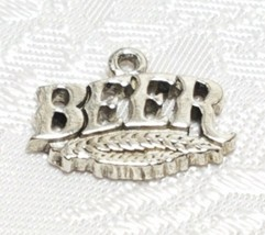 BEER WORD FINE PEWTER PENDANT CHARM - 18x13x2mm