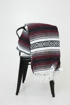 #11 Yoga Maroon Traditional Mexican Blanket Striped Premium Mexico Navaj... - $21.17 CAD