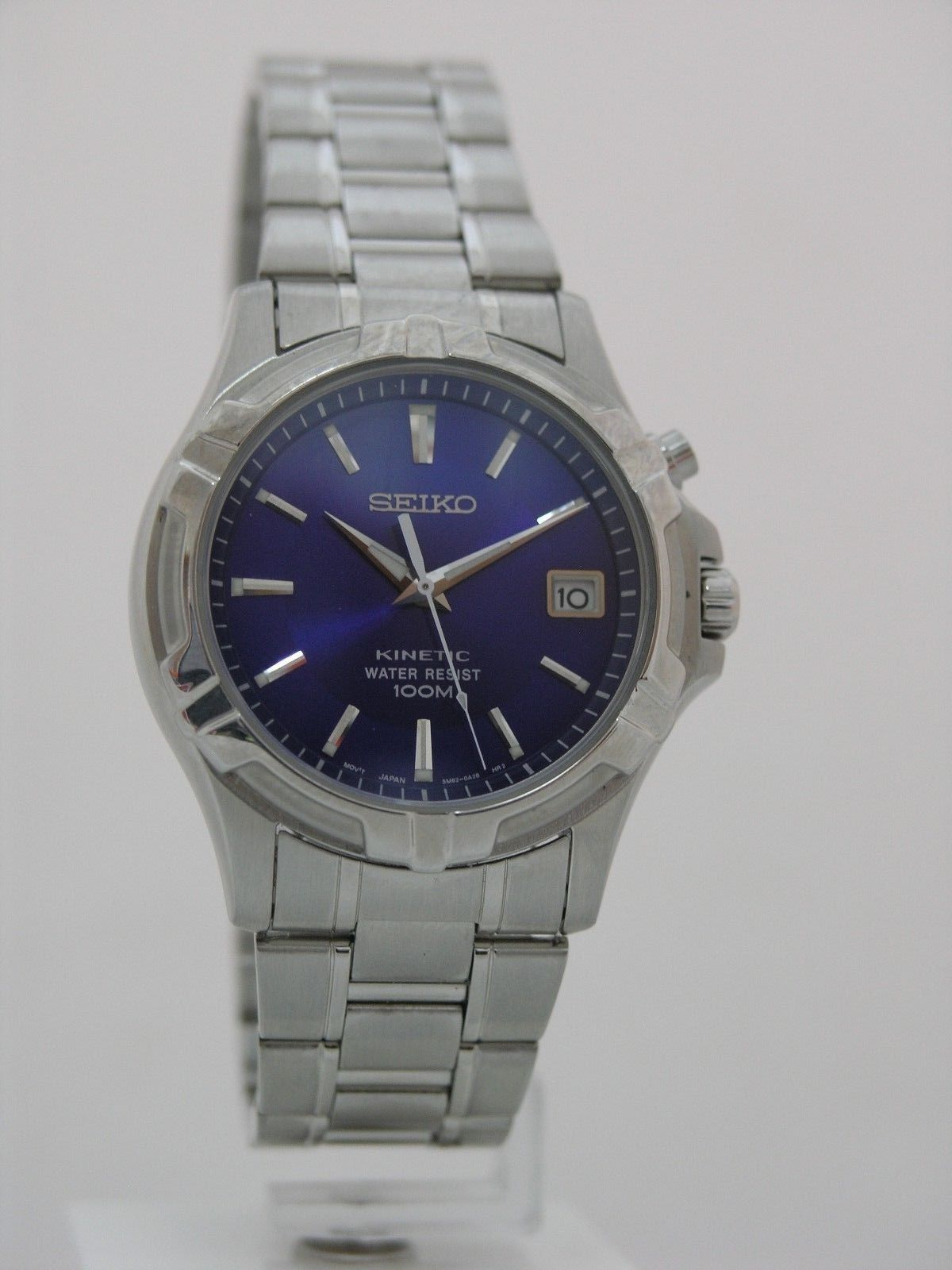 Seiko watch mens watches stainless steel kinetic blue dial movement 5M62 SKA003