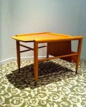BROWN SALTMAN WEDGE TABLE John Keal Rare Mid Century Mad Men Eames era - $1,728.42