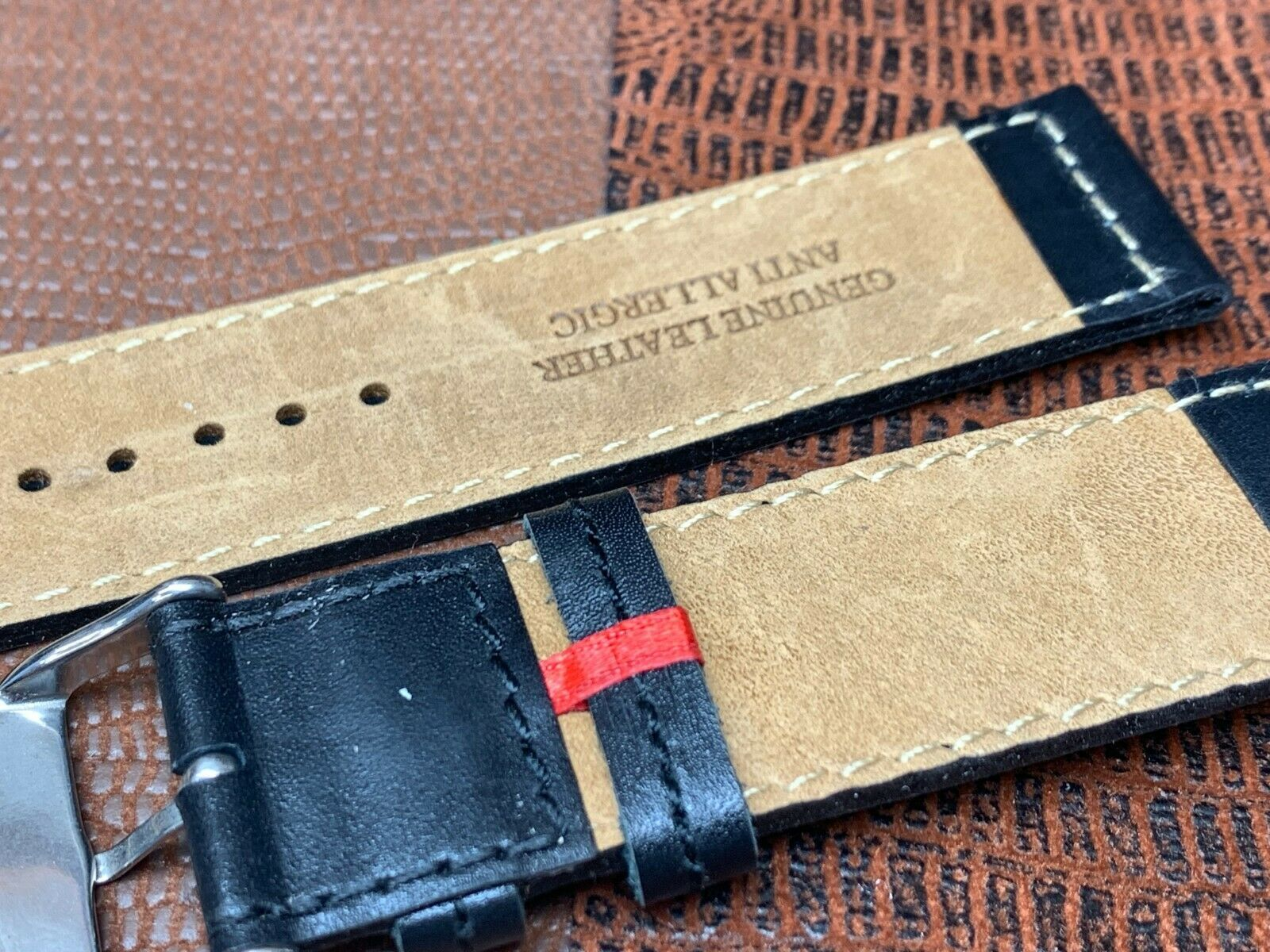 24mm Italian genuine leather watch band   Black Premium calf fit Panerai image 2