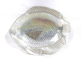 "Vintage Cream Opalescent Iridescent Glass Fish Candy Trinket Dish 6-3/8""... - $9.79"