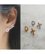 X O Stud Earrings Made With Swarovski Stone Brass Titanium Ear Women Fas... - $18.49
