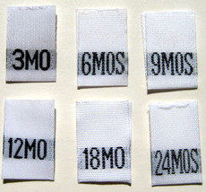 1000 pcs MIXED WOVEN INFANT CLOTHING LABELS - 3... - $36.59