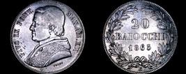 1865-XXR Italian States Papal States 20 Baiocchi World Silver Coin - Piu... - $79.99