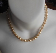 """Vintage Victorian Faux Pearl Choker Necklace W/Pearl/Rhinestone Clasp 7""""  - $54.45"""