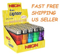50 Ct Full Size Disposable Cigarette Lighters Assorted Color Wholesale L... - $10.88