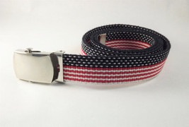 USA Flag Belt Women Red White & Blue Patriotic Canvas Striped Belt Size ... - $23.76