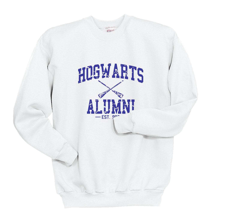 HA1 Hogwarts Alumni Blue ink Unisex Crewneck Sweatshirt WHITE