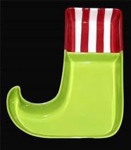 Boston Stripes Polka Dots Elf Crazy Stockings Lrg Divided Chip & Dip Bowl Nwt - $34.99