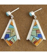 Inlaid Turquoise Mixed Semi Precious Stone Sterling Silver Post Earrings - $172.97