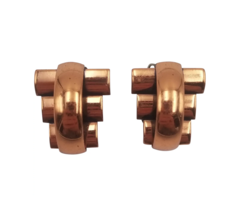 Renoir Mid Century Modern Copper Geometric Clip On Earrings 1950s Signed - $24.75