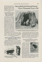 1936 Magazine Article California Farmer Uses Redwood Tree Stump as Barn ... - $9.99