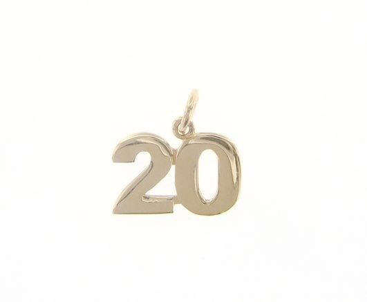 18K YELLOW GOLD NUMBER 20 TWENTY PENDANT CHARM 0.7 INCHES 17 MM MADE IN ITALY
