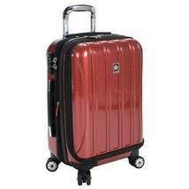 "Delsey Carry-On Spinner Luggage Red 19"" Helium Hard-Sided Expandable Lock - $104.99"