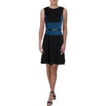Tommy Hilfiger Belted Colorblocked a-Line Dress Color Black/Blue Size 6 - $59.99