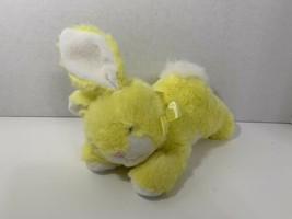 Kellytoy vintage plush yellow Easter bunny rabbit lying down ribbon bow stuffed - $14.84