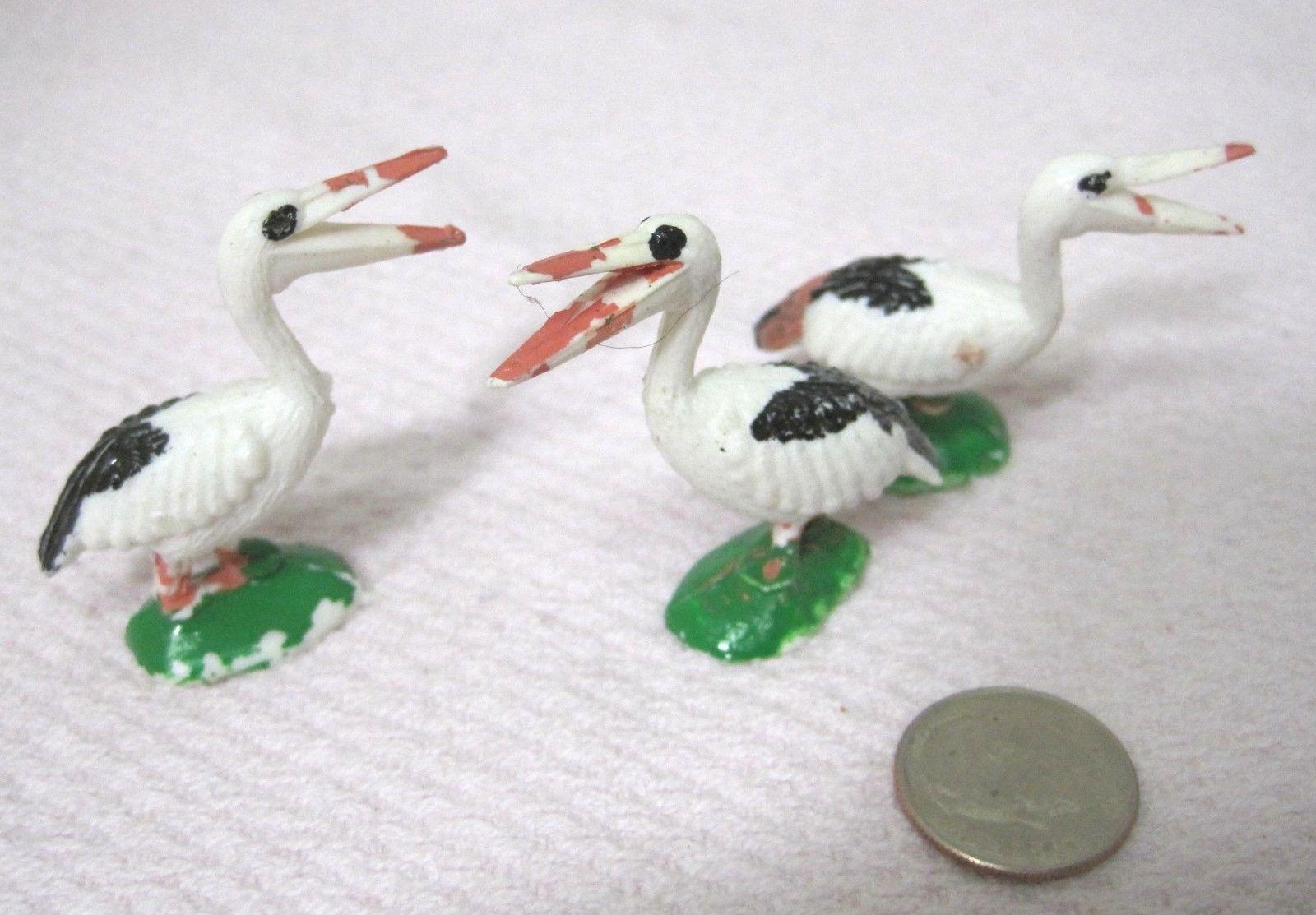 Vintage Miniature Bird Stork Pelican 1 5/8 x 1 1/2  Inches  Crafts 3 PC image 2