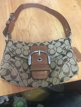 Coach Brown Signature Jacquard Canvas HOBO Shoulder Hand Bag A0878-11860 - $24.24