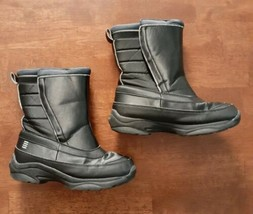 Lands End Youth Boys Snow Boots Size 2 Black Waterproof Insulated  - $16.33