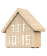 Log Cabin LED Digital Alarm Clock Voice Control Wooden Temperature Humid... - $43.74