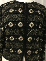 Papell Women's Blazer Boutique Evening Black Gold Beaded Formal Size 8 - $64.35