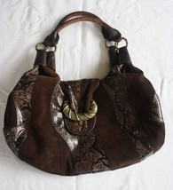 Cole Haan Brown Snakeskin Alison Patchwork Suede Leather Hobo Purse Hand... - $55.44