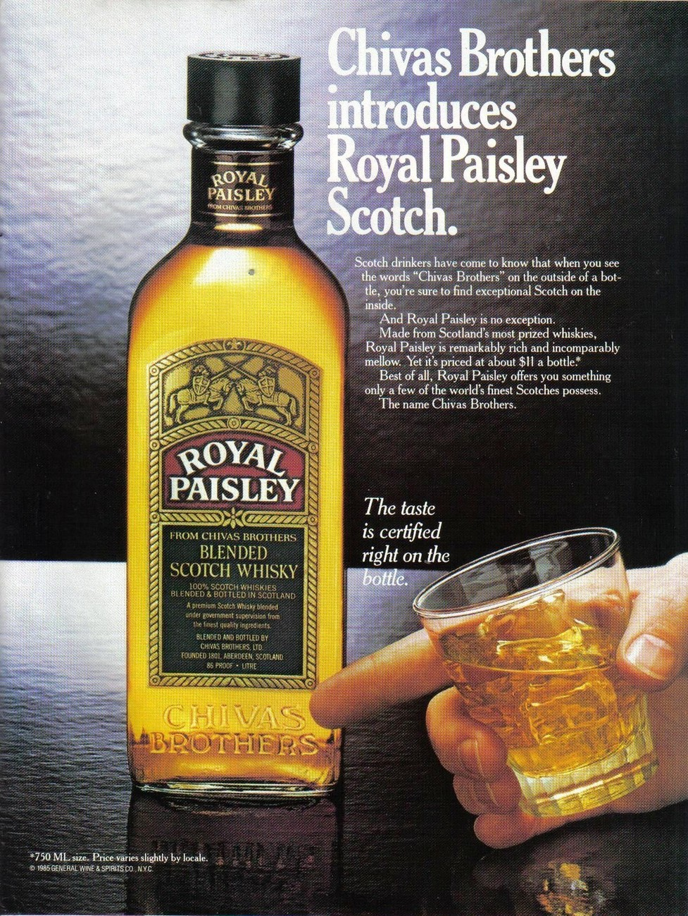 Primary image for Chivas Brothers Royal Paisley Scotch Whisky Print Ad From 1985 Vintage NM