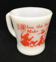 Vintage Fire King Prayer mug/cup Milk Glass w/ red print Daily Prayer  - $14.03
